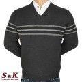 Луксозен мъжки пуловер с V деколте - 2145-6