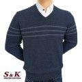Луксозен мъжки пуловер с V деколте - 2145-4