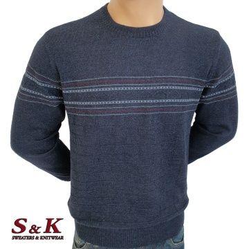 Луксозен мъжки пуловер с обло деколте