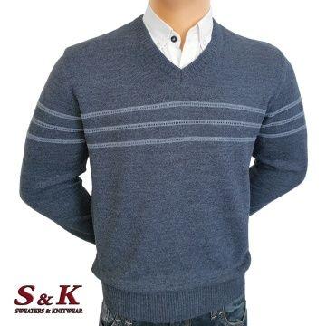 Луксозен мъжки пуловер с V деколте